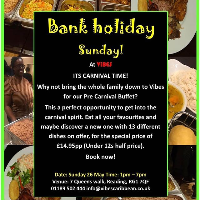 Just 2 more days to go until our  fabulous pre-carnival events this SUNDAY! 1pm- 7pm our delicious all you can eat Caribbean Buffet🌶 with 13 mouth watering dishes, and from 8pm till 2AM dance the night away at our RUM and JERK PARTY🍹! With Free entry, Rum and Jerk deals from £10 and the best in reggae, calypso and soca brought to you by Family Connection Sound to get you carnival ready!!💃🏿 Not to be missed.. see you there!!