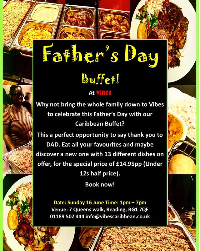 After the amazing turn out of our last Sunday buffet we are back this SUNDAY! This time we are here to celebrate our amazing Fathers!!! 1pm- 7pm our delicious all you can eat Caribbean Buffet🌶 with 13 mouth watering dishes will be on offer for just £14.95pp. We can't wait to see you all there!!