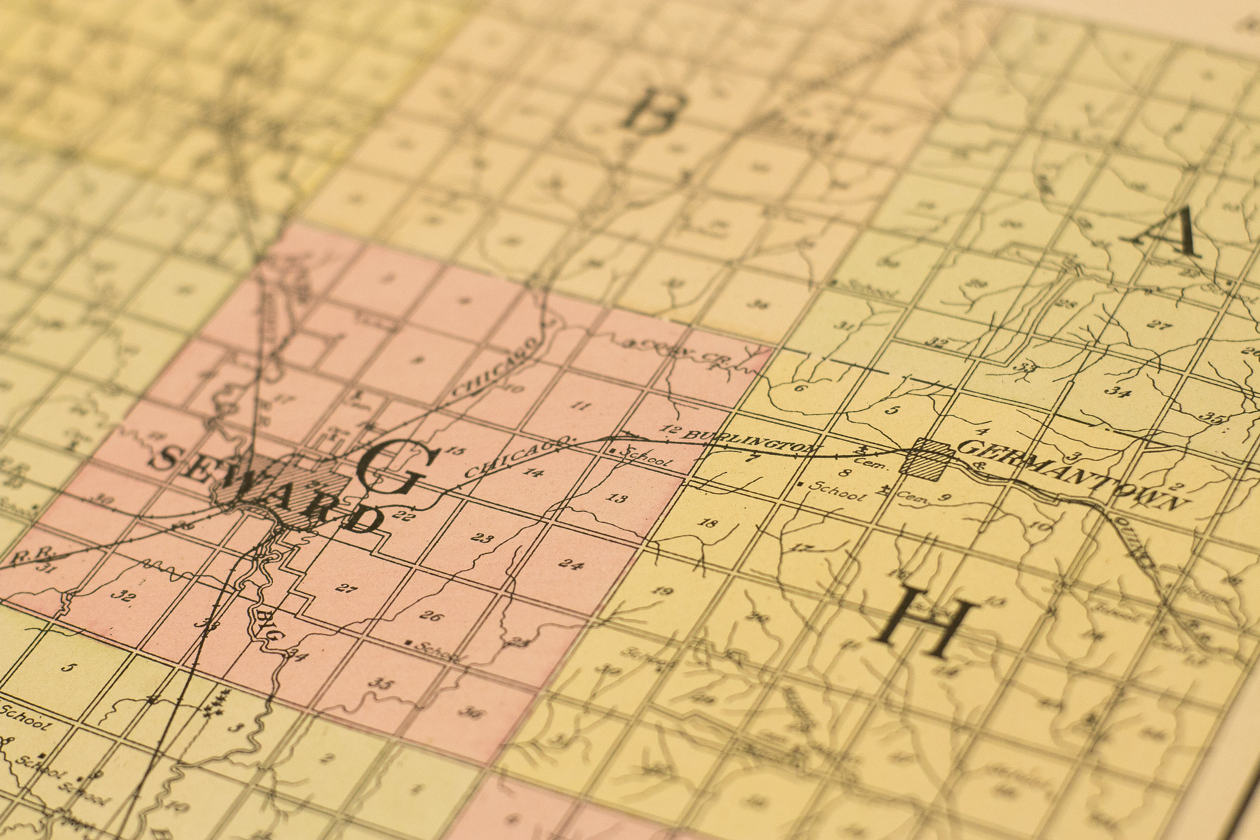 - A map of Seward County, Nebraska from 1908 shows rail lines across the county, including the now nonexistent line from Garland (formerly Germantown) to Seward. Photographed at the Seward County Historical Society on July 3, 2017.