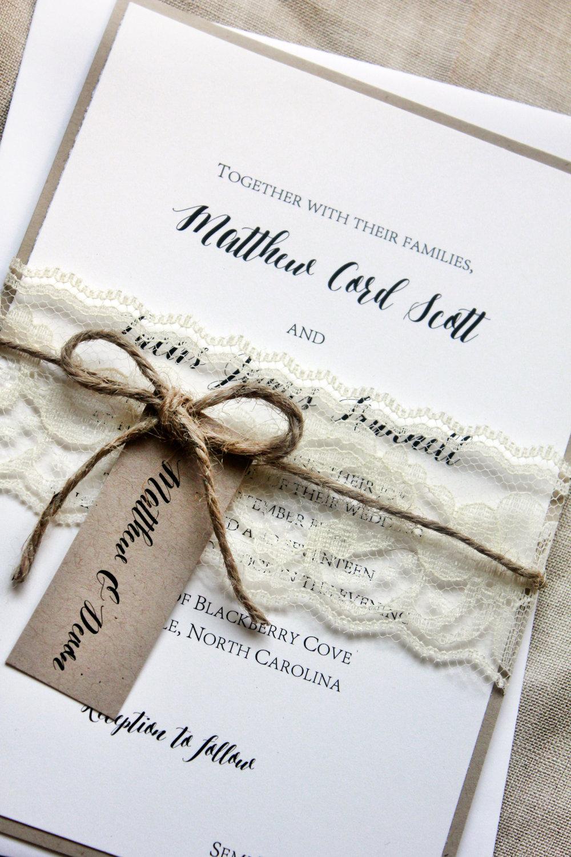 Rustic Wedding Invitations Elegant Lace Invitations Garden Wedding Country Chic Invitations Invitation Sample Lovely Rustic Weddings