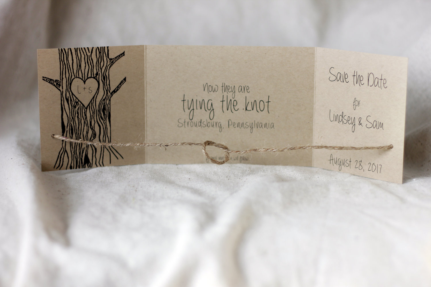 kraft tying the knot set of 110 tie knot rustic wedding kraft tie the knot Eco Friendly Tying the knot save the date kraft save date