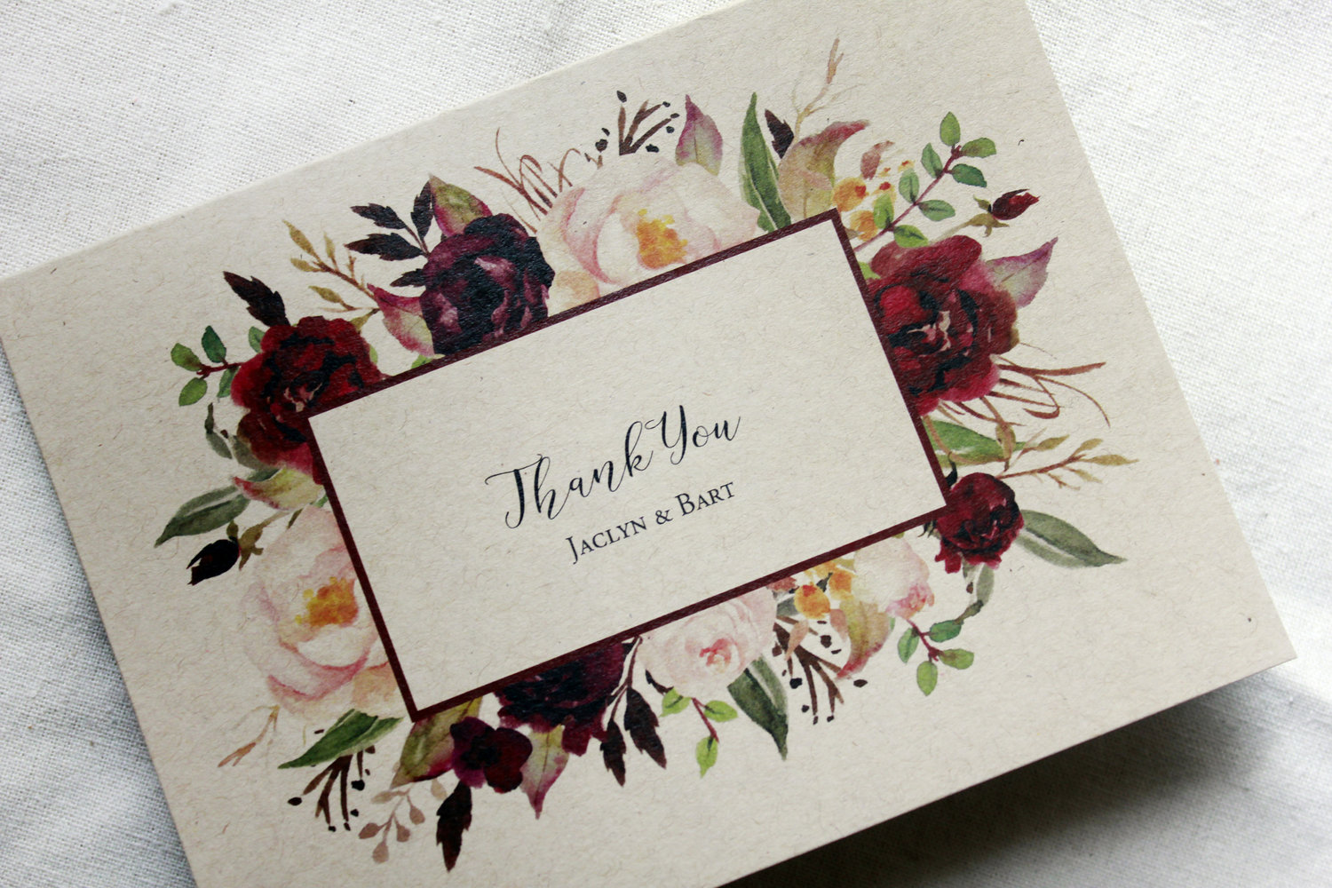 Marsala Thank You Card Set Boho Thank You Cards Wedding Thank You Notes Blank Note Cards Stationery Cards Set Of 5 Personalized Card Set