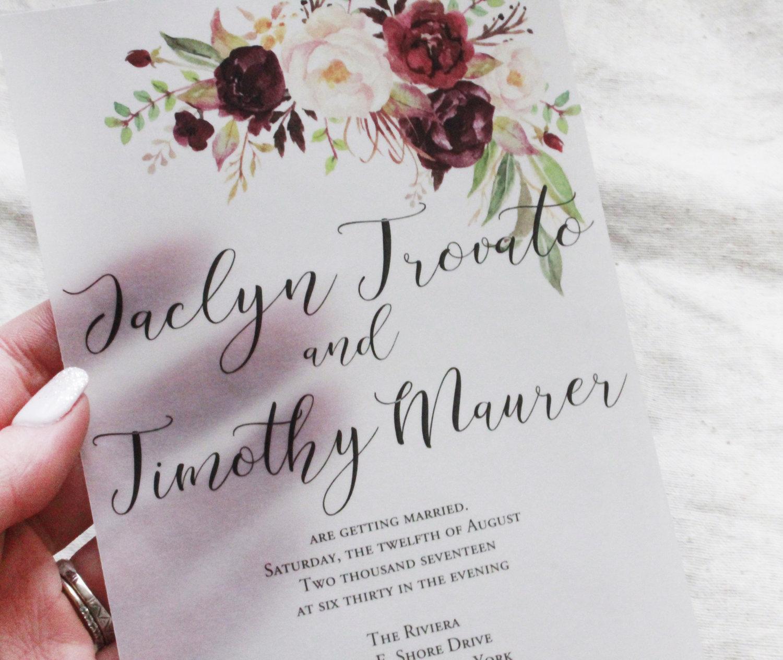 Vellum Wedding Invitation Burgundy