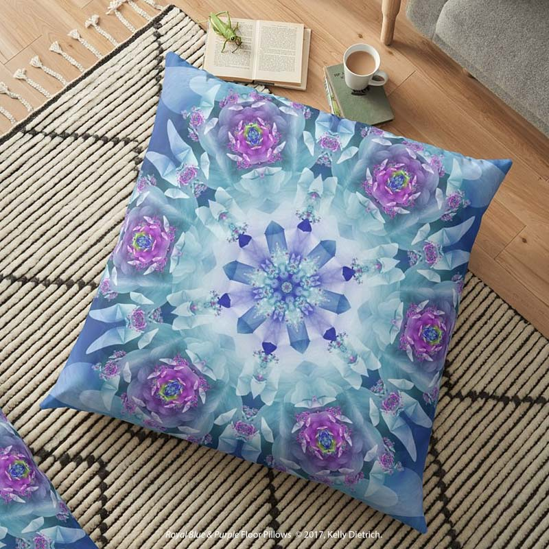 Royal Blue & Purple Mandala Floor Pillow - Available in  my RedBubble shop .