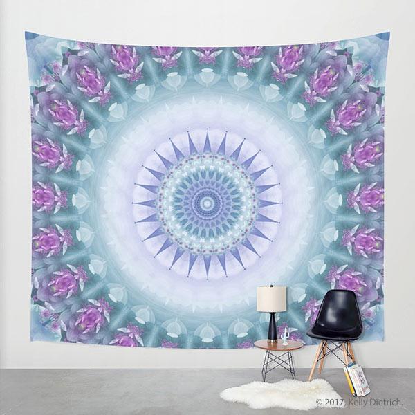 Violet Flowers Mandala Wall Tapestry