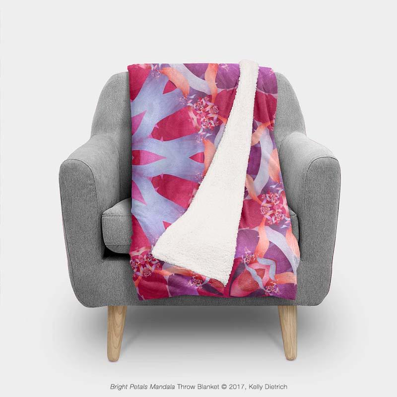 Bright Petals Mandala Throw Blanket