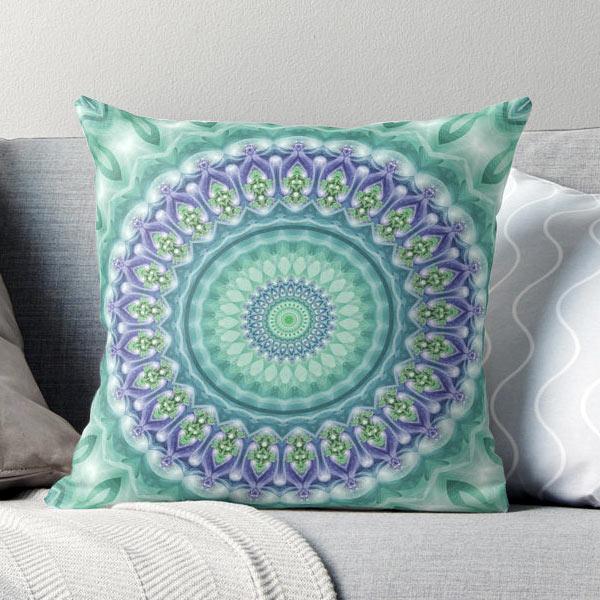Green & Purple Mandala Throw Pillow