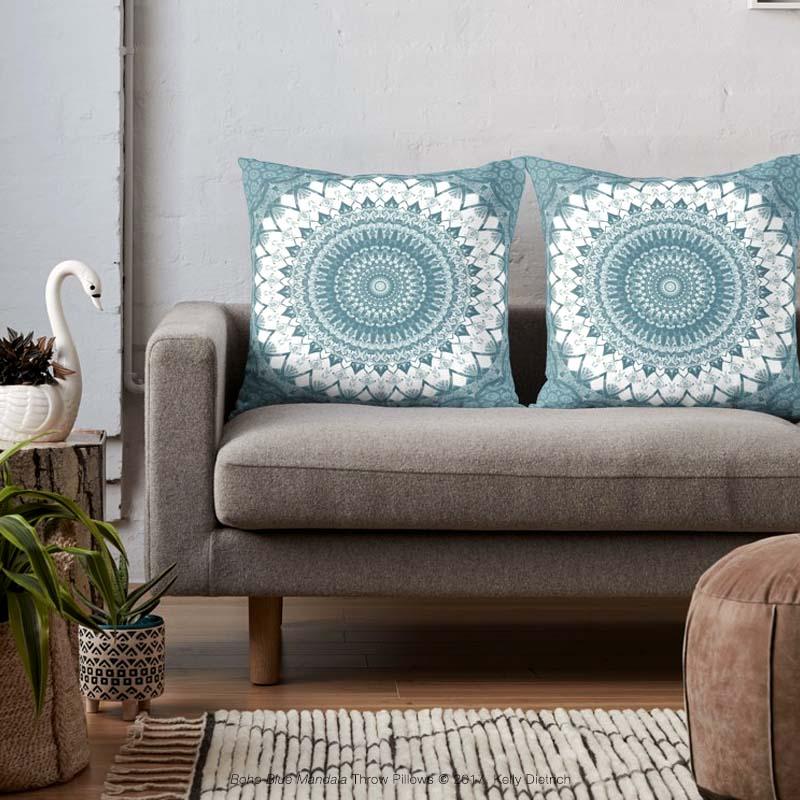 Boho Blue Mandala Throw Pillows