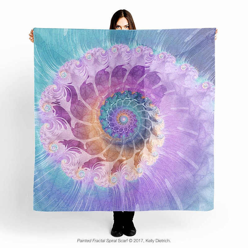 Painted Fractal Spiral Scarf - Available in  My RedBubble Shop