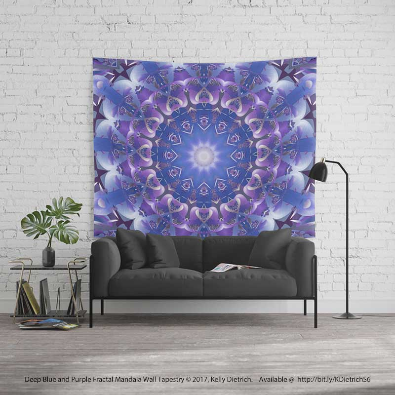 Deep Blue & Purple Mandala Tapestry
