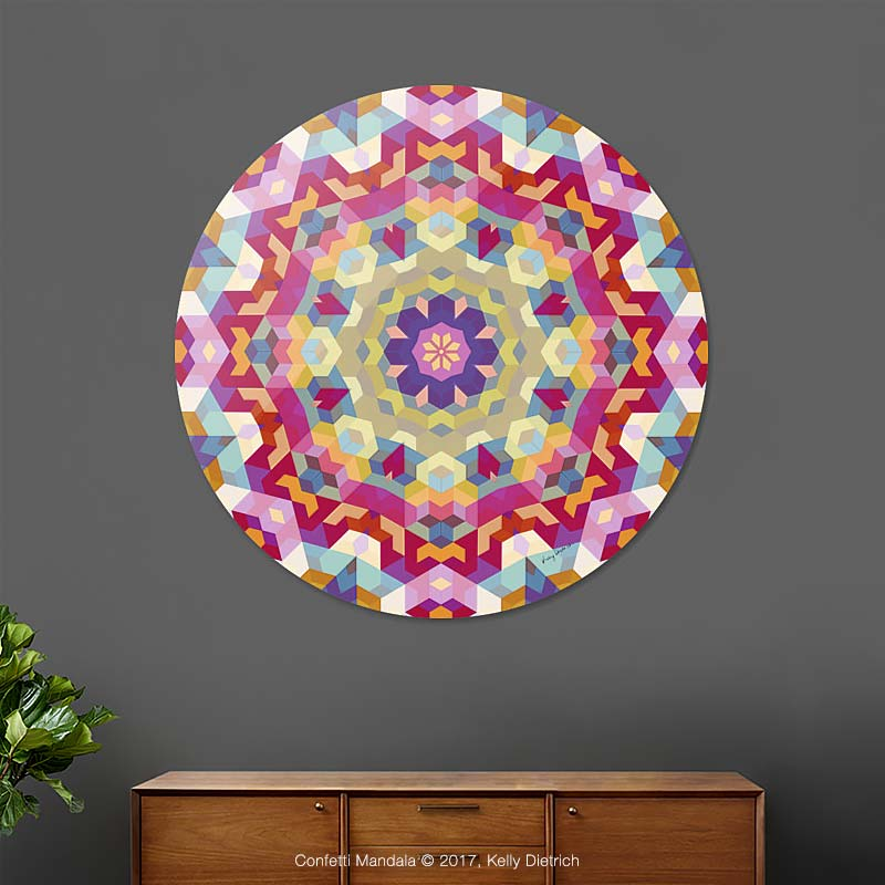 Confetti Mandala Disk Print available at Curioos.