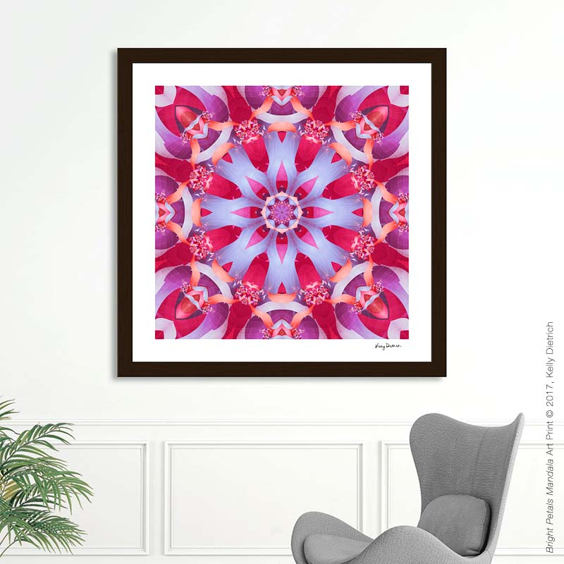 Bright Petals Mandala Framed Art Print available at Curioos.