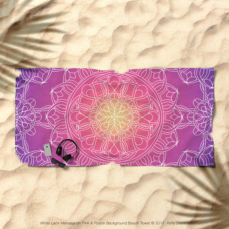 White Lace Mandala on Pink, Purple & Yellow Beach Towel  available in my Society6 shop .