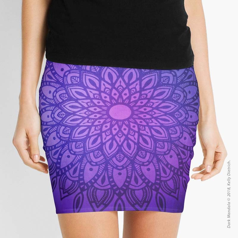 Dark Mandala in Purple and Navy Skirt available at RedBubble