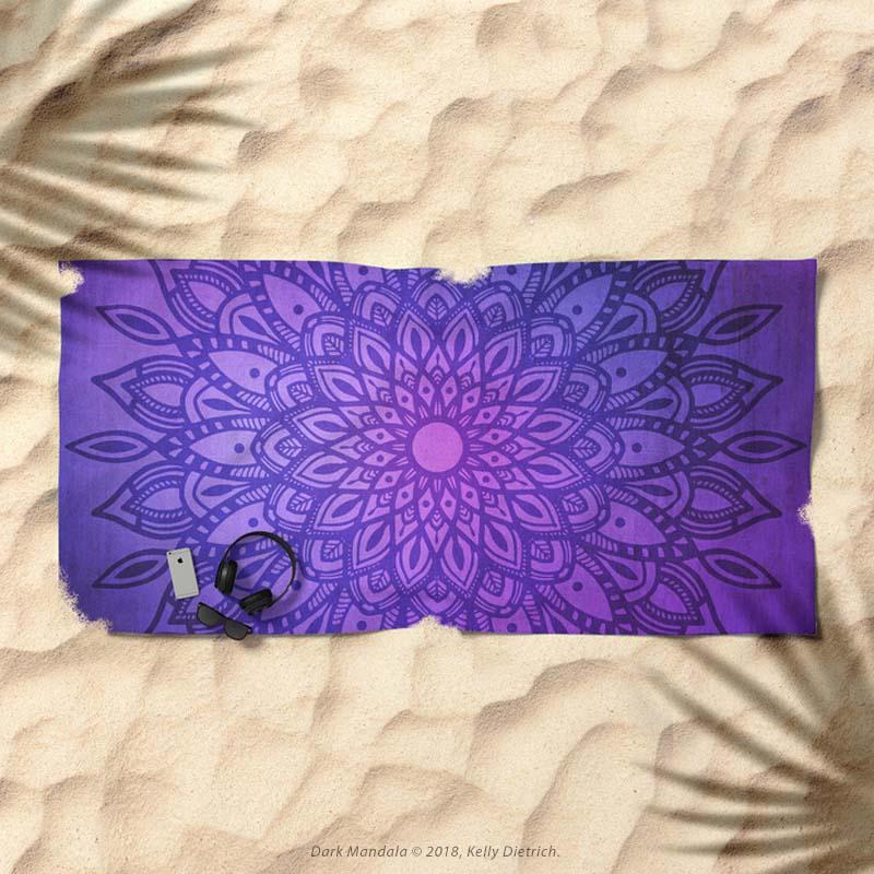 Dark Mandala in Purple and Navy Beach Towel