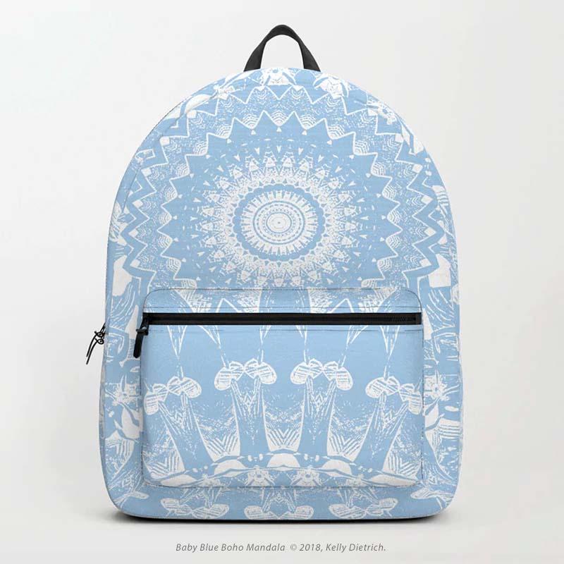 Baby Blue Boho Mandala Backpack - Available in my Society6 shop