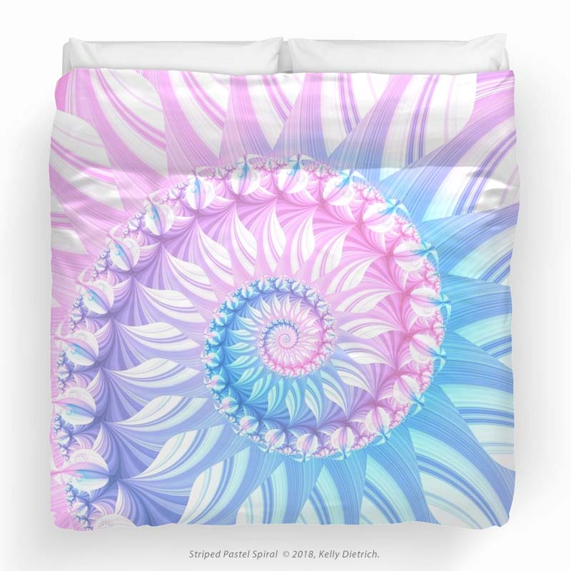 Striped Pastel Spiral Duvet Cover available in my RedBubble shop.