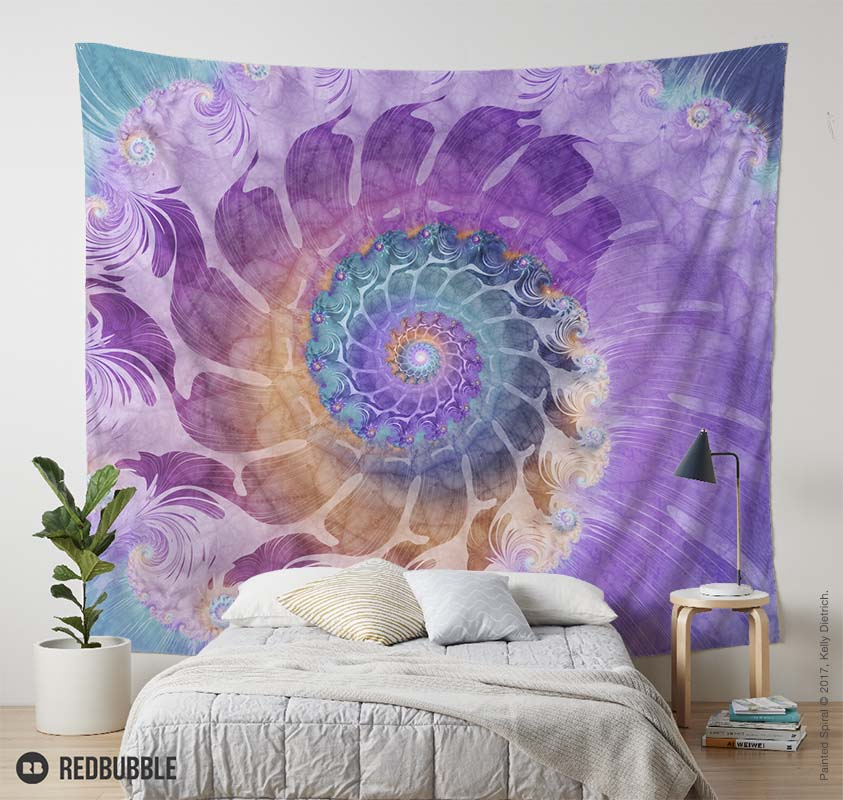 Painted Fractal Spiral Wall Tapestry