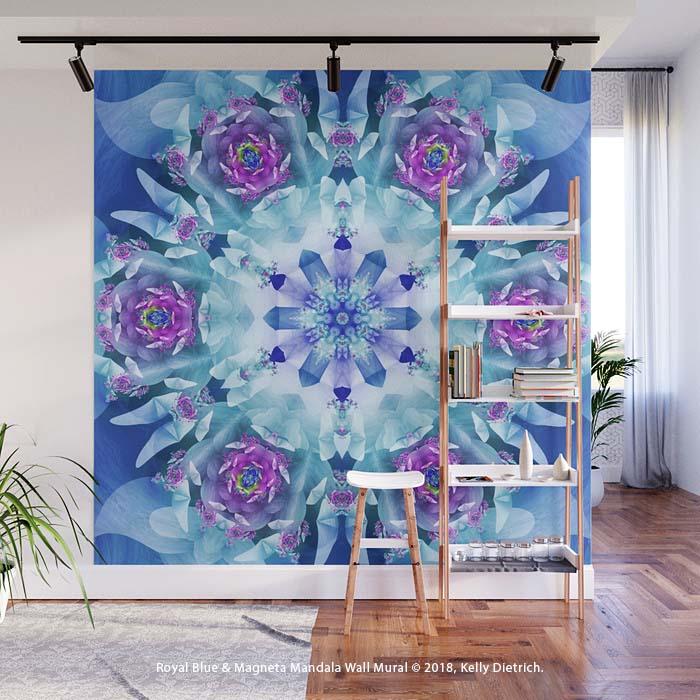 Royal Blue and Magenta Mandala Wall Mural