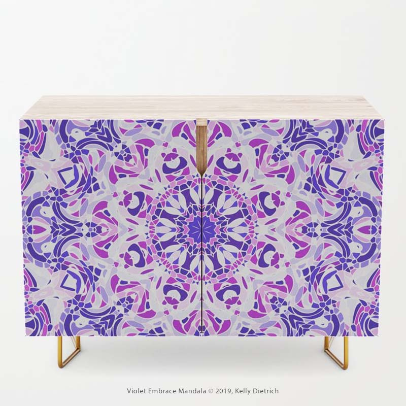 Shown above: Violet Embrace Mandala credenza, available in my Society6 shop.