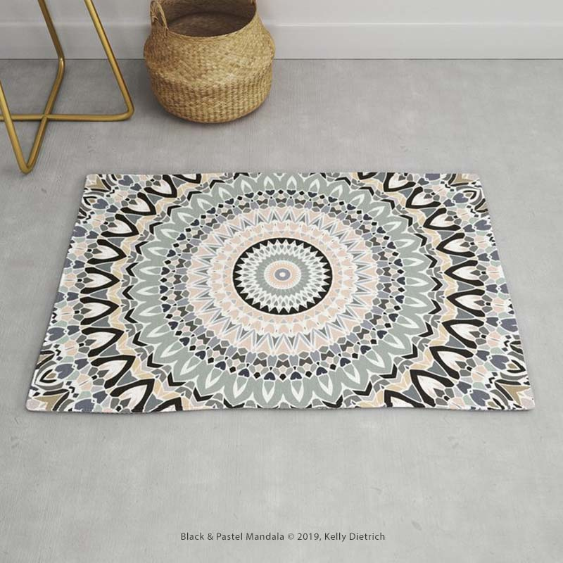 Black & Pastel Mandala  floor rug (available in two sizes) from Society6