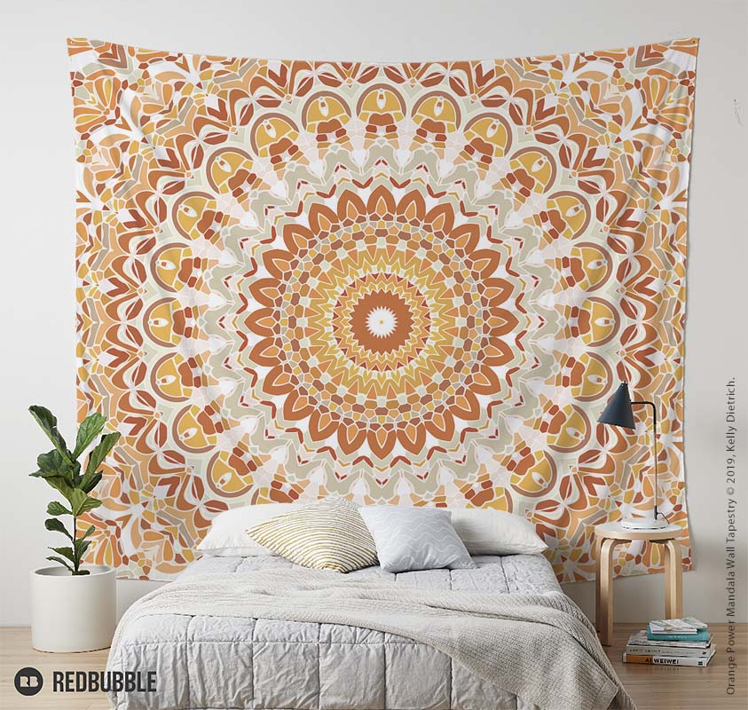 Orange Power Mandala Wall Tapestry available at RedBubble.