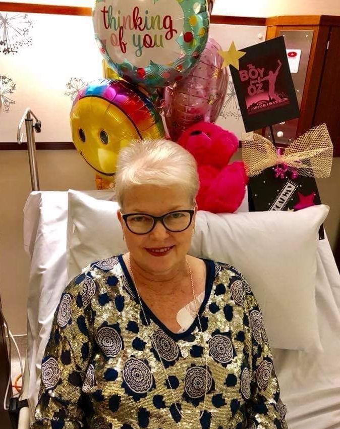 Sue glammed up for the occasion from her hospital bed in Brisbane.