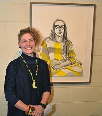 CQ artist Erin Dunne with her winning piece,  Weekends with Paige in Clermon  t .  Photo courtesy CQUniversity Australia.