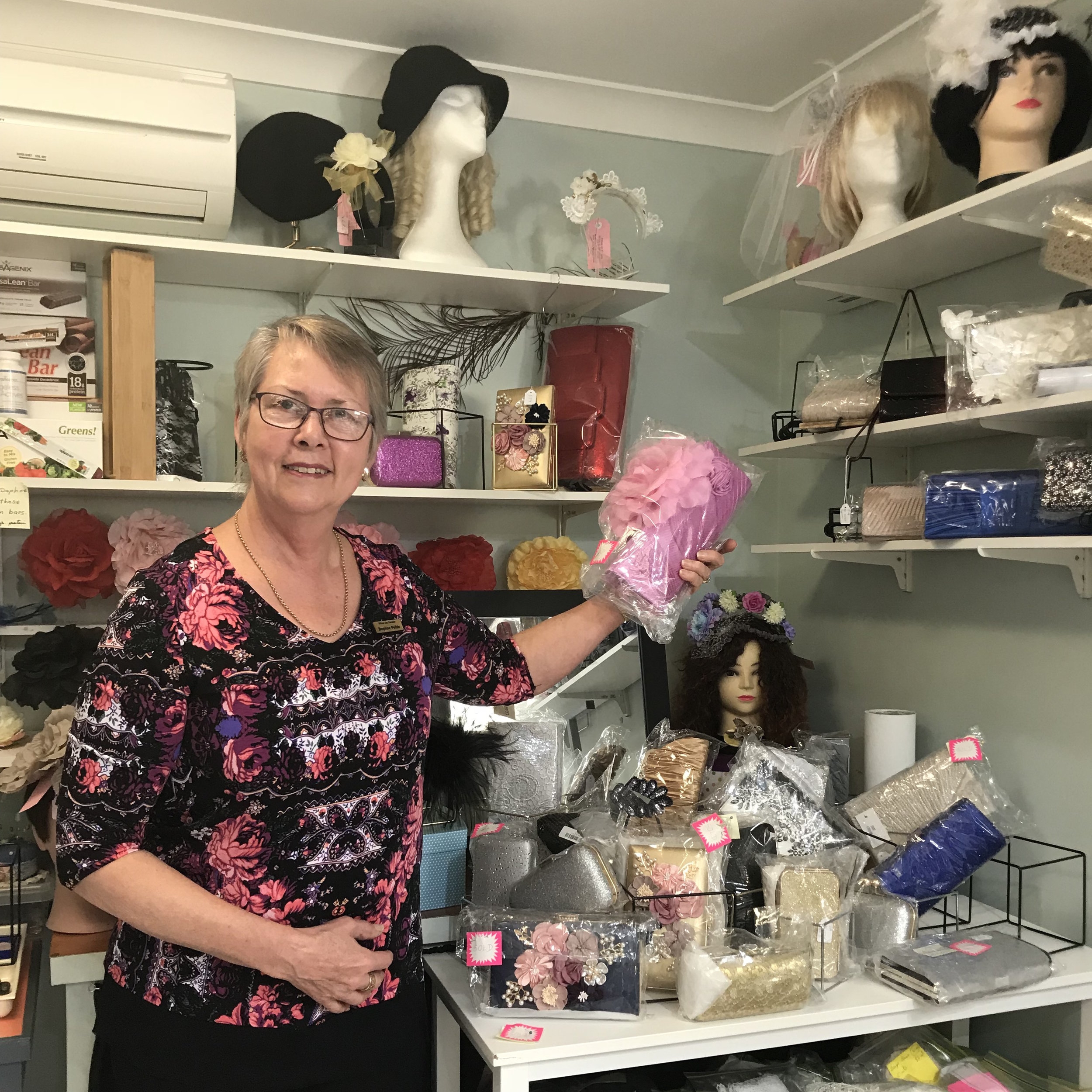 Daphne Pohle with sewing supplies