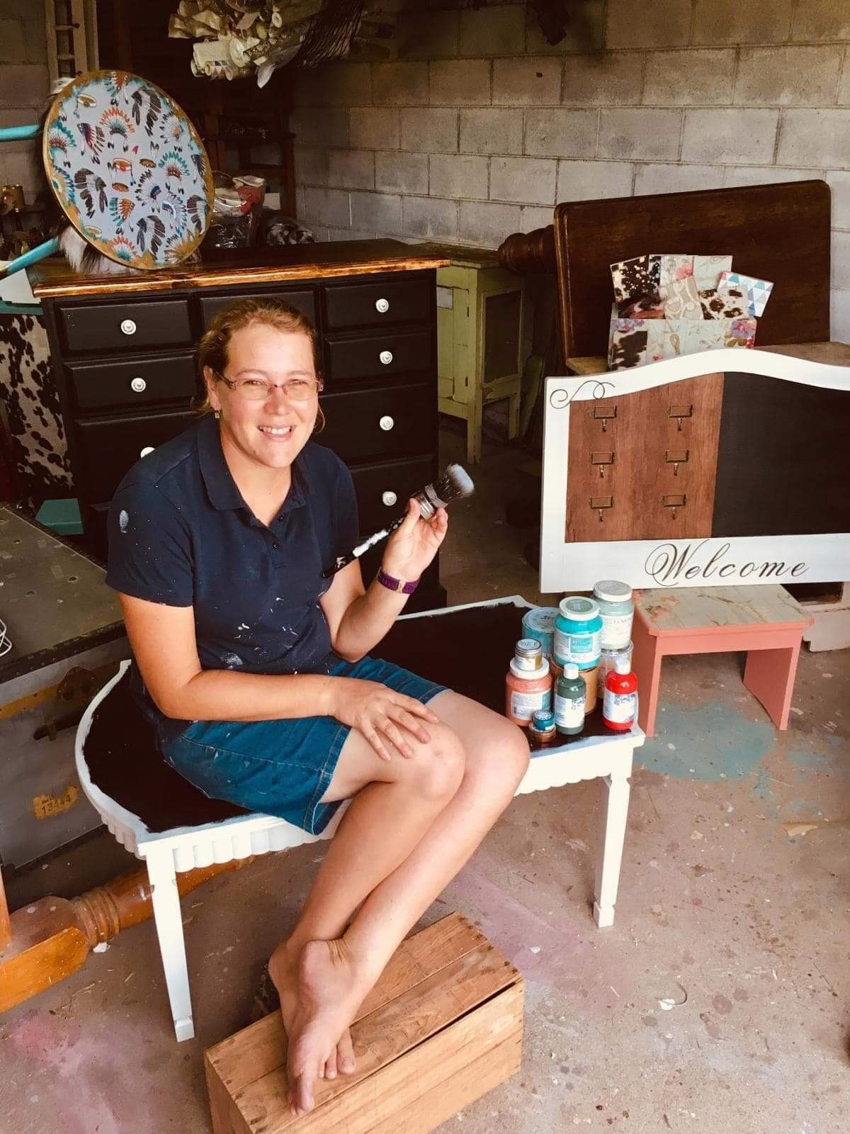 """""""Painting and upcycling is nourishment for my soul"""" - Lucy Thompson at work."""