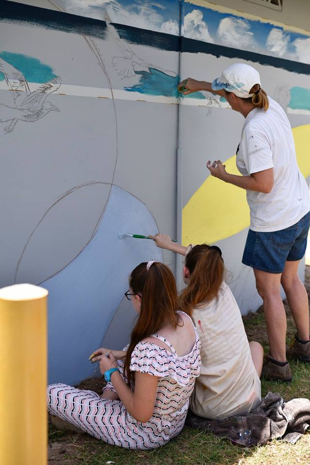 Capricorn Coast youth at work at the first mural painting workshop.   Image by Youth Arts Yeppoon.