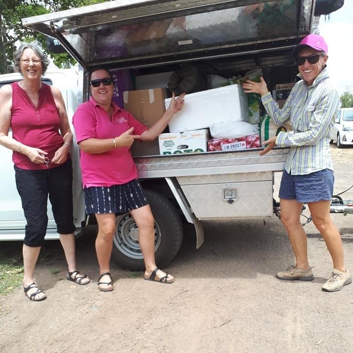 Genevieve Gleeson, Paula Bruckner and Judy Kirby load up in Biloela.