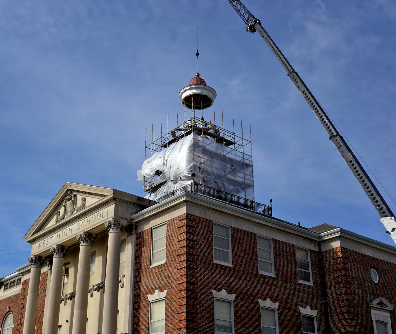 Installing the new custom copper cupola... -