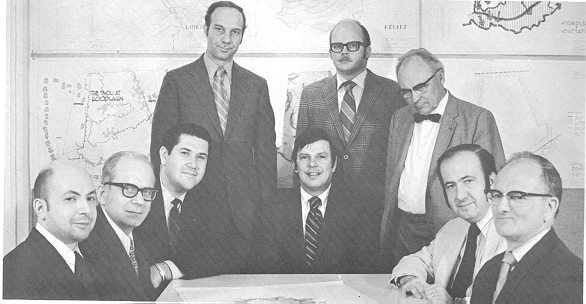 Left to right: Dick Ross, Dick Matheny, John Esdall, Jim Coan, Paul McCalla, Bert Cornelius, Bob Caldwell, and Chet Delp.