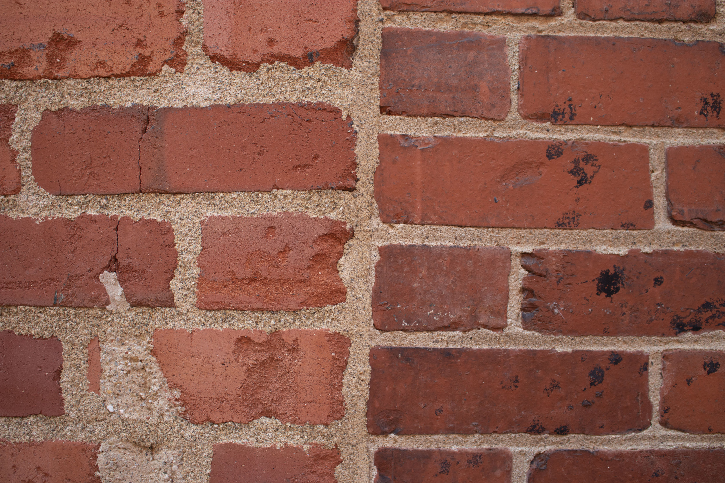 This image illustrates what happens when all the mortar AND a tiny bit of brick are removed to get a fresh surface to point. On the left, this has happened repeatedly to the bricks, which is why the mortar joints on the left are so much bigger than the joints of the younger bricks on the right. When the brick is shaved down each time the wall gets new mortar, the bricks shrink over time.