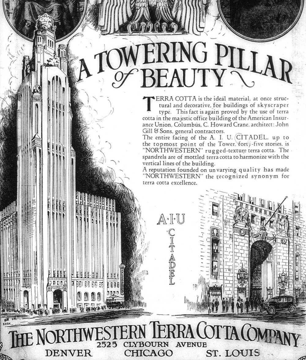 Ad for the Northwestern Terra Cotta Company featuring the LeVeque Tower