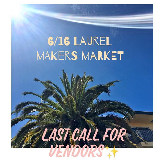 Hey y'all👋 We at @laurelmakersmarket are looking for a few more quality artists and vintage selling folk in and around Oakland. We are especially in search of plant/floral people, candle makers, vintage/global home decor, woodworks, glass blowers. If you make jewelry feel free to apply for our JULY 21st date, we've capped out for June. Check out our page and apply via www.laurelmakersmarket.com