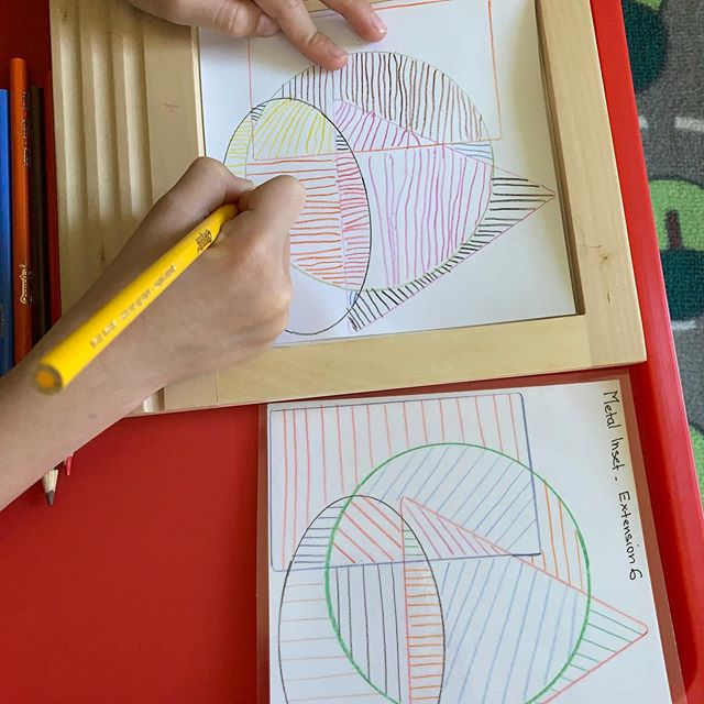 Metal inset in Montessori is a pre-writing material which helps improve pencil grip, fine motor skills and concentration.It develops hand movement for forming straight and curved lines which helps in writing letters and cursive writing#preschool #montessori #earlychildhoodeducation #yyc#yyckids