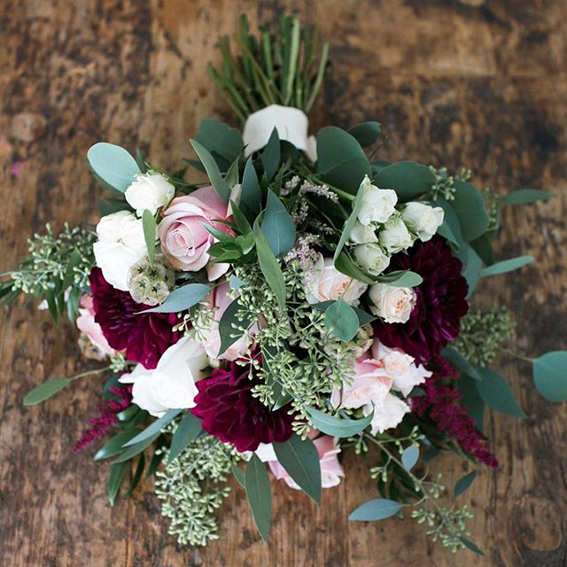 We are FALLing in love with fall bridal colors!! #fall #bridalbouquet #burgundy #blush #fallwedding #orangecounty #florist