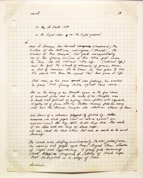 """HANDWRITTEN PAGE FROM """"THE CORAL SEA"""" BY PATTI SMITH"""