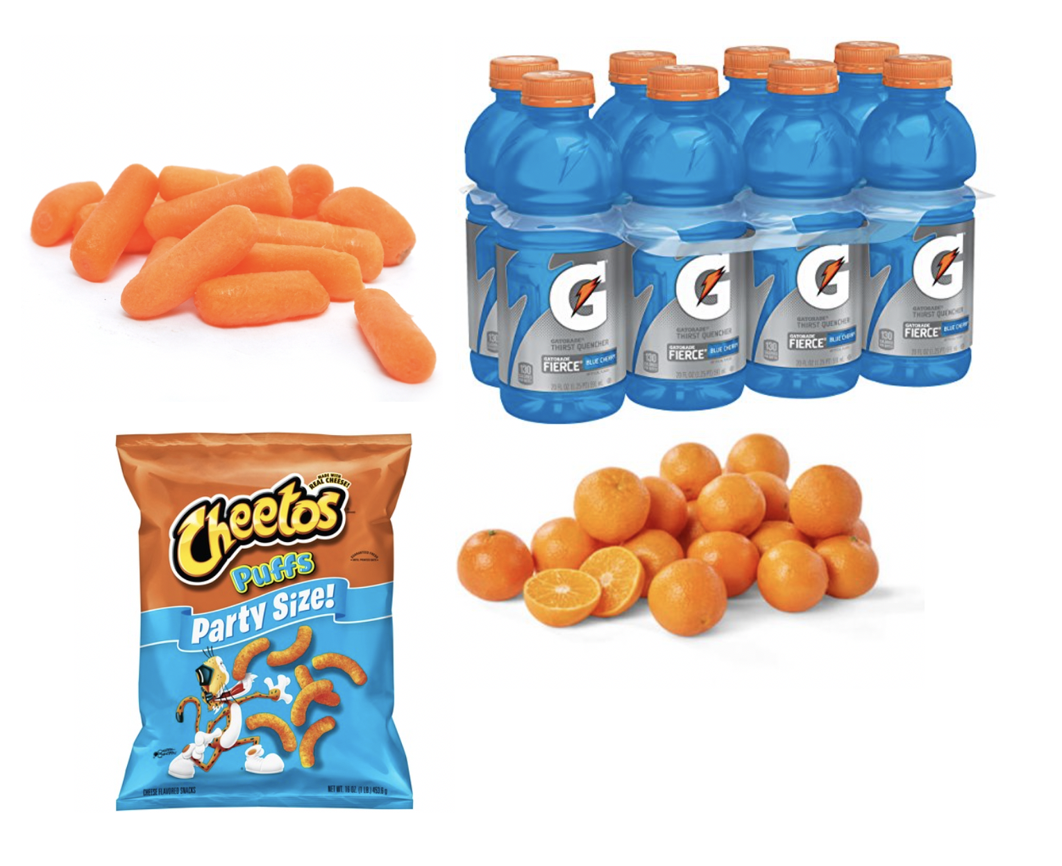 Image sources:   Carrots ,  Cheetos ,  Gatorade  and  clementines