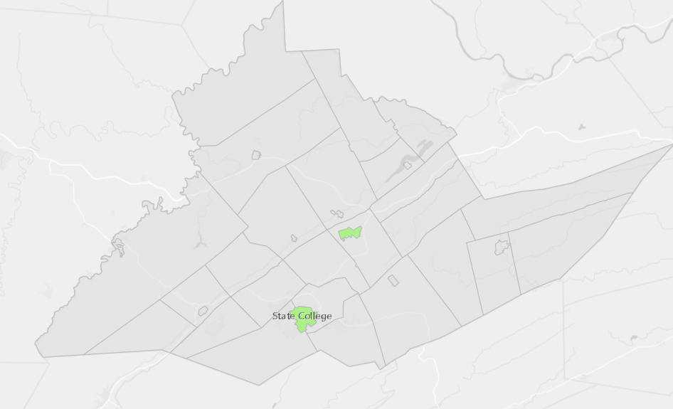Centre County Municipalities by Conversion Therapy Ordinances   Green: banned, Grey: legal.