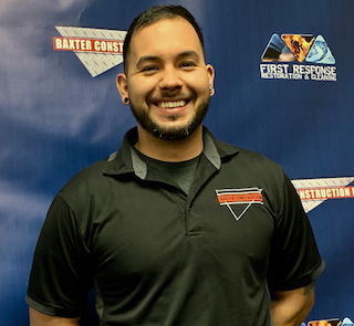 Joel Nateras, Estimator  I started at Baxter Construction in 2010 as a laborer and soon asked to be a Water Restoration Technician. Since then I've been working in the Mitigation Department as a tech and as an Estimator.  I've been married since 2011 to my wife Alicia and have two boys (Mateo and Orin). I love spending time with them and mountain biking.