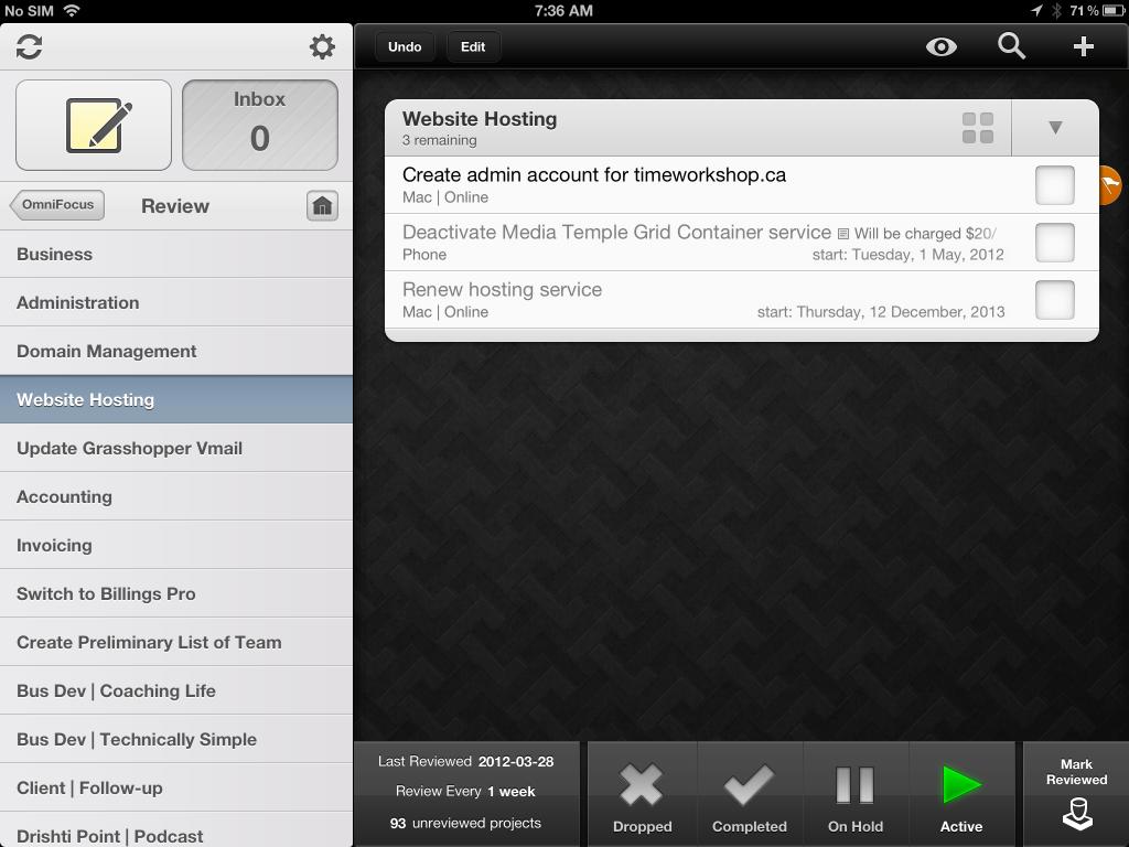 Tim Stringer - OmniFocus Review - iPad