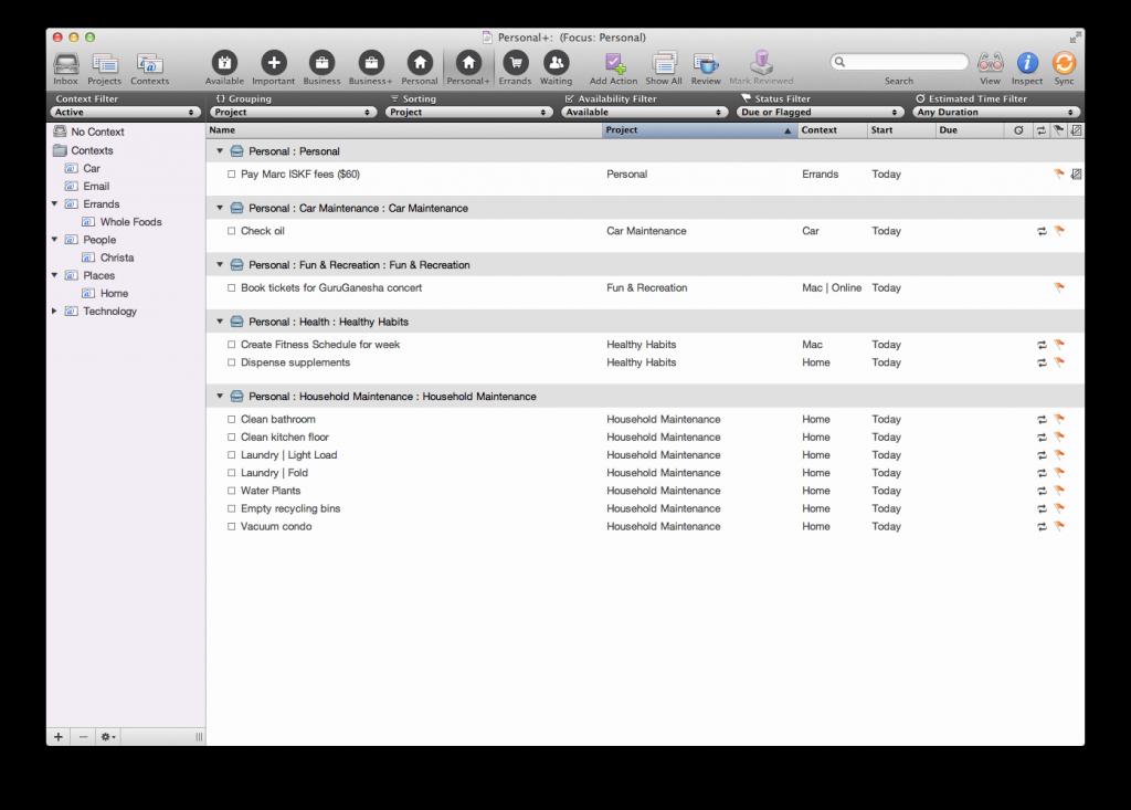 Tim Stringer - OmniFocus Personal Tasks - Mac