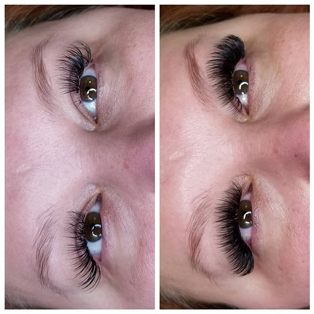 First photo is 5 week retention, second is after a fill! My clients love that their lashes hold up for a whole month! Of course I still recommend fills for 3-4 weeks between.  This is the average time for most clients, and it is healthier for your natural lashes to have them filled in at this time to make sure your lashes are clean and the extensions aren't grown out and getting too heavy. *when going over 4 weeks between fills I recommend booking extra time to make sure you still get back to your full set with your fill in appointment.  If there is less than 40% retention an extended fill or full set appointment will be required  #eyelashextensions #cincinnatieyelashextensions #cincinnatilashes #cincinnatilashartist #lashartist #lashtraining #daytonlashes #cincinnatilashtrainer #cincinnatilashtraining #daytonlashtraining #lashretention #russianvolume #russianvolumelashes #handmadefans #handmadevolumefans #lashboss #kimkletmedoyourlashes