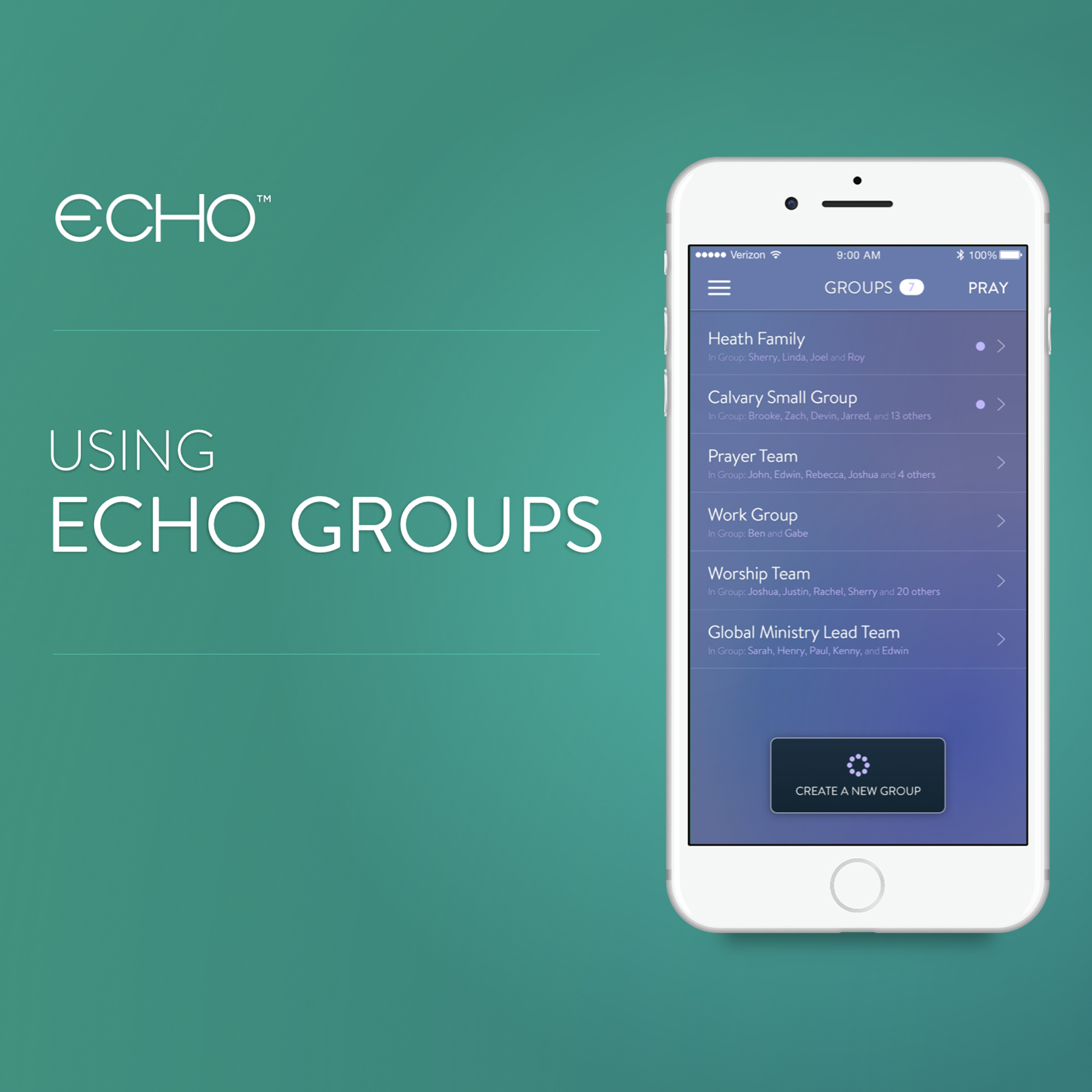 Using Echo Groups - This is a presentation specifically explaining Echo Groups. It shows how to use Echo in your Small Group, with family members, friends and co-workers.Useful for: Small Group demonstrations, or general roll out of Groups for Churches.DOWNLOAD: PDF | KEYNOTE | POWERPOINT