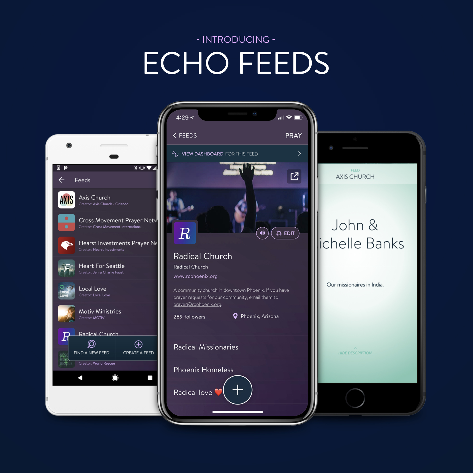 Echo Feeds - This is a PDF that details how the Echo Feeds platform can help a church, ministry, organization or missionary. It covers everything from features to pricing.Useful for: Church members sharing with their pastors, individuals sharing with organization's leadership, missionaries understanding how to use it for themselves.DOWNLOAD: PDF