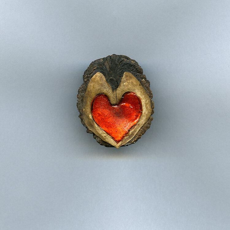 Ephemera Still Life 23, Walnut Enameled Heart