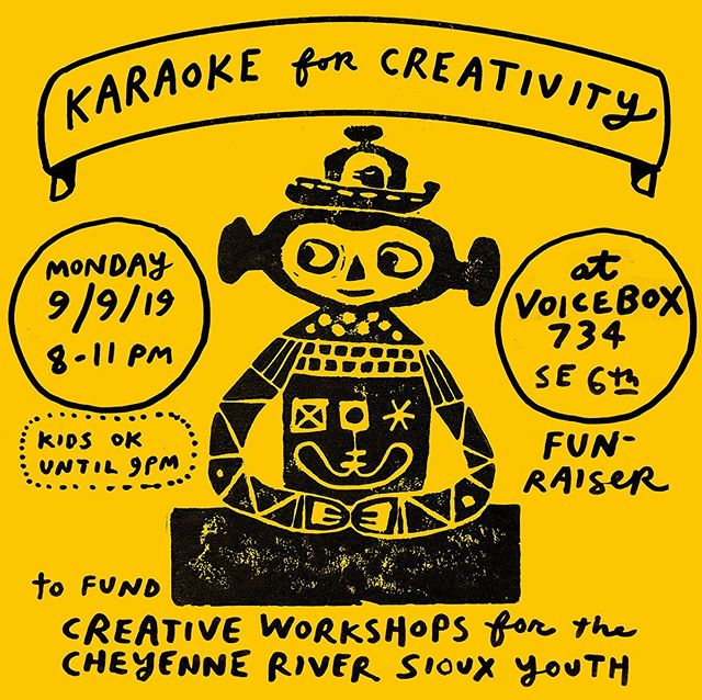 MONDAY! MONDAY! MONDAY! ⭐️⭐️⭐️⭐️⭐️⭐️⭐️⭐️⭐️⭐️⭐️ Karaoke for Creativity 9/9/19 from 8-11pm 🌿 Fundraiser party at Voicebox SE to raise funds for Toki Amanwani to bring creative workshops to the Cheyenne River Youth Project. 🦅 $10-$35 sliding scale, $5 for kids 🐣 🌸 @voiceboxkaraoke is private room karaoke and we'll be in the big party suite! 🌼 Come sing or come watch. 🐸 See you there! 🦋 #tokiamanwaniproject #cheyenneriveryouthproject